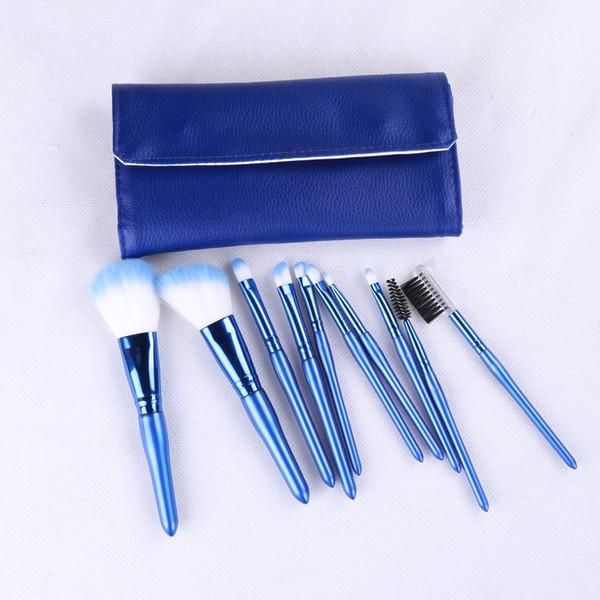 En gros marque privée Maquilaje Blue Handle 10pcs Cosmétique Make Up Brosses de haute qualité avec porte-beauté dhl livraison gratuite