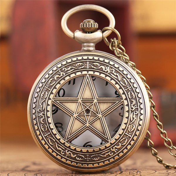 1 Pcs Pentagram Pentacle Pagan Wiccan Witch Gothic Pewter Quartz Pocket Watch Necklace Pendant Fob Chain Watches For Men
