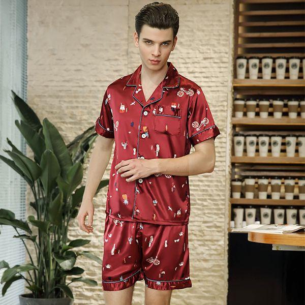 Silky Feel Men Pajamas Set Novelty Print Pajamas Suit Short Sleeve Sleep Set Soft 2PCS Sleepwear New Nightwear Shirt&Shorts