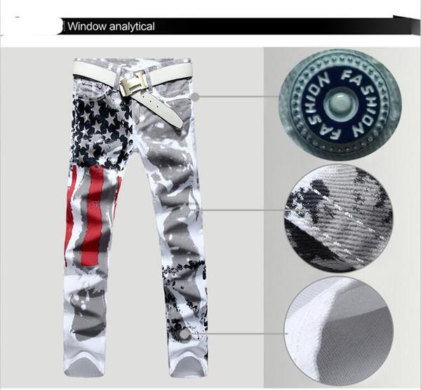 2018 Resiliência Calças Compridas Moda Vestuário Mens Designer Jeans Calças Jeans com Bandeira Americana Impresso Plus Size