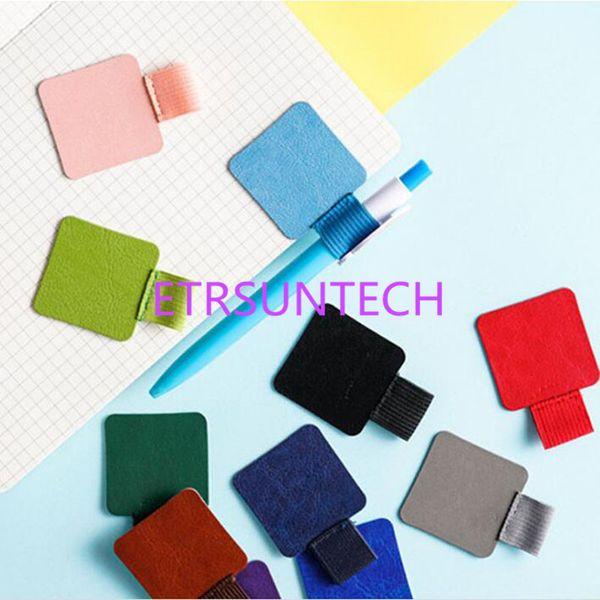 Colorido autoadhesivo PU cuero pluma titular Clips lápiz elástico Loop para portátiles, revistas, portapapeles envío gratis QW7616