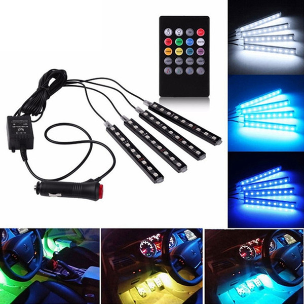 best selling Edison2011 4 In 1 Car Inside Atmosphere Lamp 36 LED Interior Decoration Lighting RGB LED Wireless Remote Control 5050 chip DC 12V