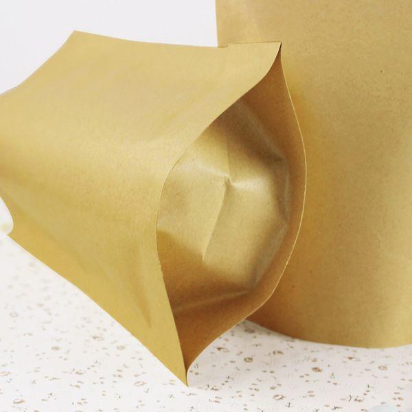 100Pcs/ Lot 13*18.5cm Doypack Kraft Paper Aluminum Foil Pouch Nut Candy Tea Stand Up Brown Paper Mylar Ziplock Party Packing Bag
