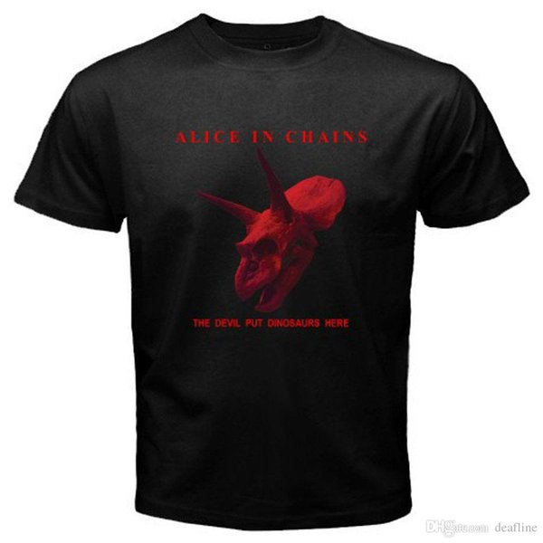 Newest 2018 ALICE IN CHAINS *The Devil Put Dinosaurs Here Men's Black T-Shirt Size S-3XL O-Neck Short-Sleeve T Shirts