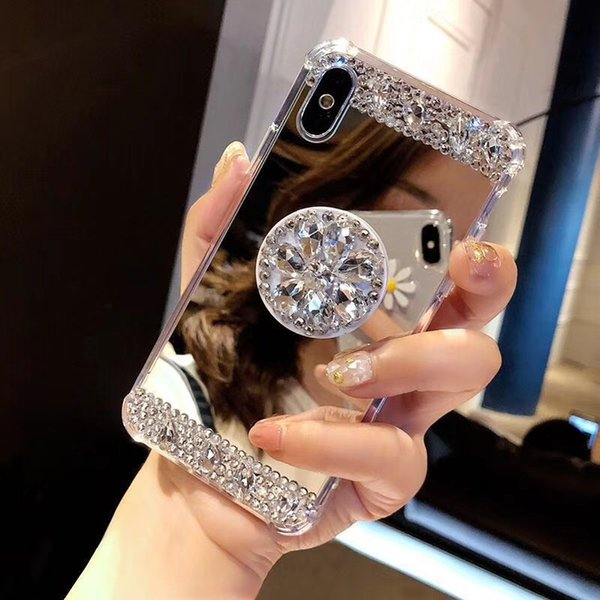 Rhinestone Airbag Mirror Phone Case For iPhone XR Xs Max XR for iPhone X 6 7 8 Plus Sparkle Bling Diamond Stand Soft Back Cover