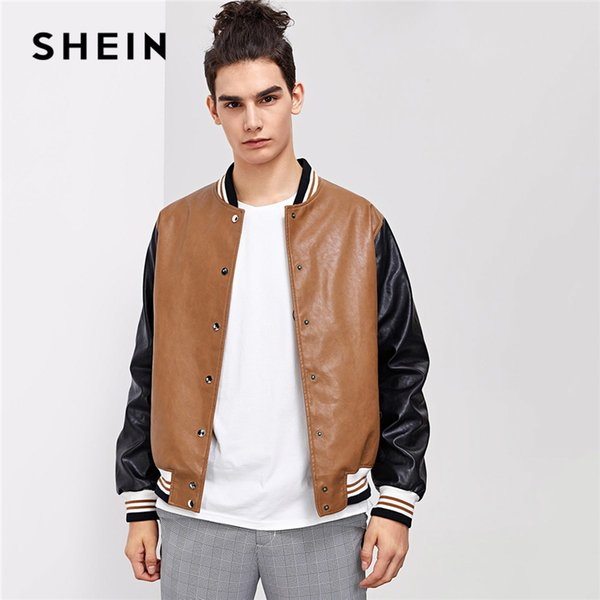 SHEIN Man Multicolor Casual Colorblock Press Button Up Stand Collar PU Bomber Jacket 2018 Autumn Man's Coat And outerwear