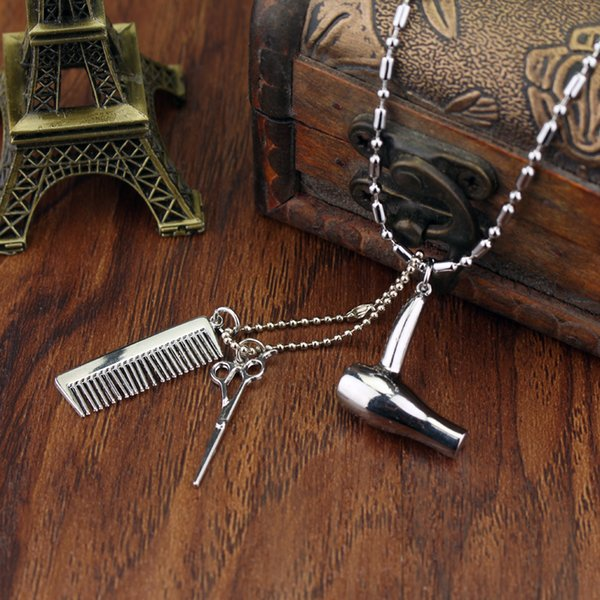 Free Shipping Cosmetologist Hair Dresser Silver Necklace Hair Dryer/Scissor/Comb Dangle Pendant Stylist Hairdresser Gift