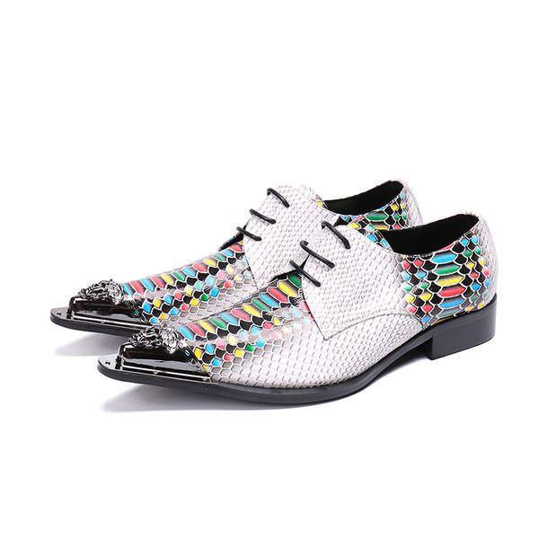 Python Pele Impressão Branco Oxford Sapatos Pointy Lace Up Sapatos de Vestido Dos Homens Sapatos de Festa de Casamento Do Noivo
