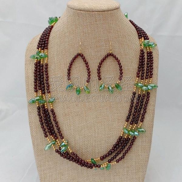 S073021 23'' 4 Strands Garnet Green Crystal Necklace Earrings Set