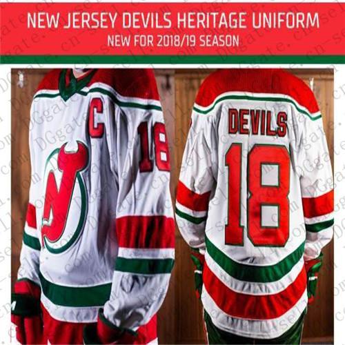 e6707b5f5 2018 2019 New Jersey Devils 18 Taylor Hall Kyle Palmieri Nico Hischier  Travis Zajac New Retro Heritage Red Green Home Uniform Hockey Jersey