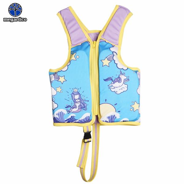 Chaleco de vida Megartico chaleco de natación unicornio sirena niños flotador del entrenador de natación para 2-6 años Chaleco de vida de traje de baño de Flotabilidad