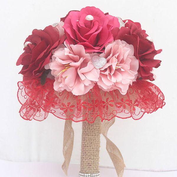 Red Pink Fashion Wedding Bouquet For Brides With Silk Ribbon Crystals Bouquet De Noiva Artificial Bridal De Mariage Wedding Decoration