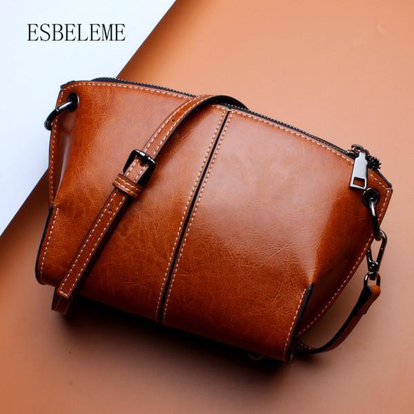 ESBELEME Cow Leather Women Single Shoulder Bags for Female Blue Black Brown Crossbody Bag Ladies Messenger Genuine Leather YH006