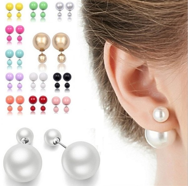 New Runway Colorful cultured Pearl Earrings Jewellery Double Pearl Beads Plug Earrings for women lady girls Ear Studs Pin for party 2979