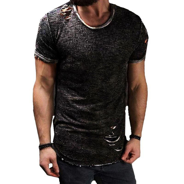 HOT Fashion Summer Ripped Clothes Men Tee Hole Solid T-Shirt Slim Fit O Neck Short Sleeve Muscle Casual Jersey Tops T Shirts