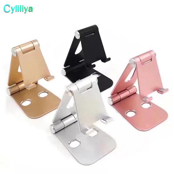 Universal Pop Multi-angle Adjustable Phone Holder Aluminum Metal Foldable Mobile Phone Tablet Desk Holder Stand for iPad iPhone