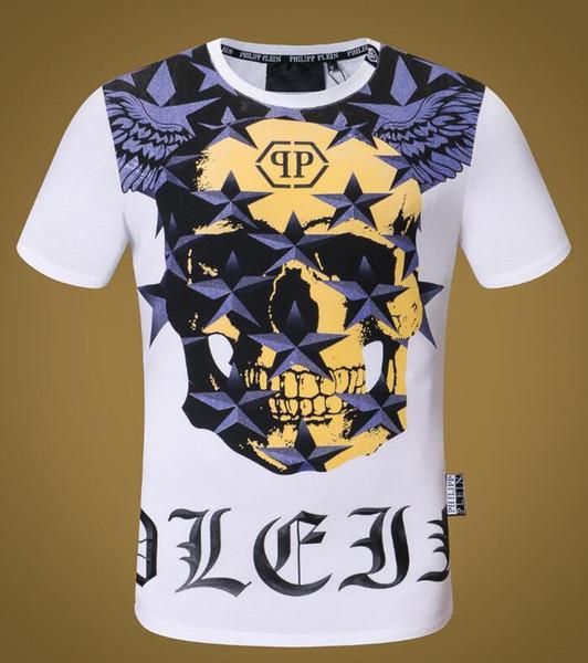 18ss roupas de rua de verão Europeus fãs de Paris moda crânio impressão dos homens de alta qualidade de algodão T-shirt casual das mulheres T-shirt