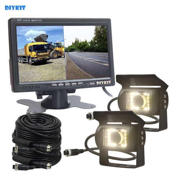 DIYKIT 7inch 2 Split LCD Screen Car Monitor LED Night Vision CCD Rear View Car Camera System for Bus Houseboat Truck