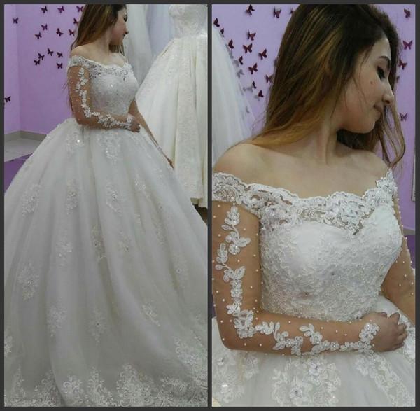 top popular Lace Pearls Lace Off The Shoulder Long Sleeves Wedding Dress festido de noiva princesa vestidos de novia desmontables falda 2021