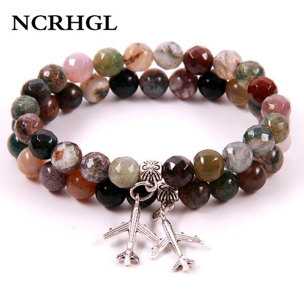 NCRHGL India Onyx Avião Charme Frisado Pulseiras 8 MM Beads Pedra Natural Pulseira Em Jóias Naturais Para As Mulheres Transporte da gota