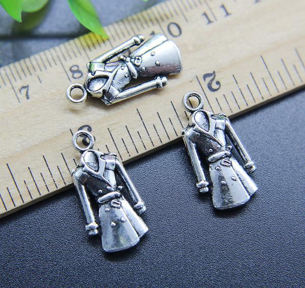 Wholesale 50pcs/Lot Dust Coat Alloy Charms Pendant Retro Jewelry Making DIY Keychain Ancient Silver Pendant For Bracelet Earrings 23*11mm