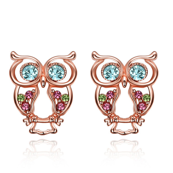 925 sterling silver lovely owl stud earrings rose gold earrings wedding jewelry making for woman gifts factory direct free shipping AKE075
