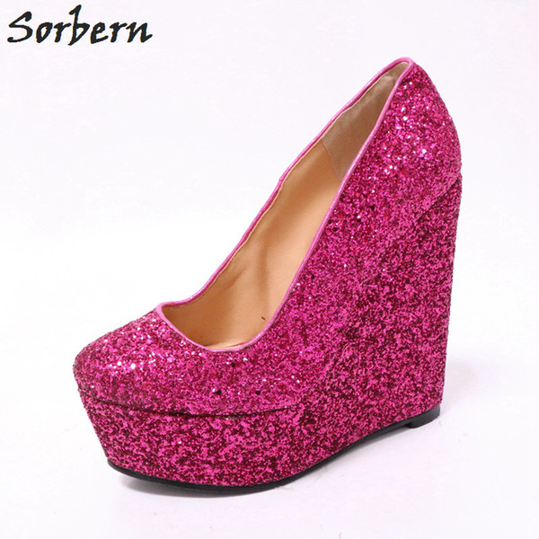 Wholesale Hot Pink Glitter Women Pumps Platform High Heels Shoes Ladies Slip On Wedge Heels Shoes Woman Size 12 Custom Colors Moccasins For Men Suede