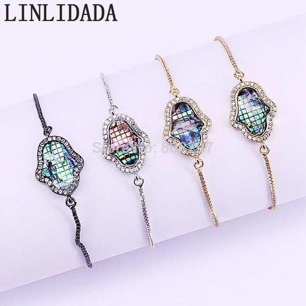 Wholesale 10Pcs New Charm Jewelry Micro Pave CZ Abalone Shell Hamsa Hand Connector Beads with Metal Chain Bracelets
