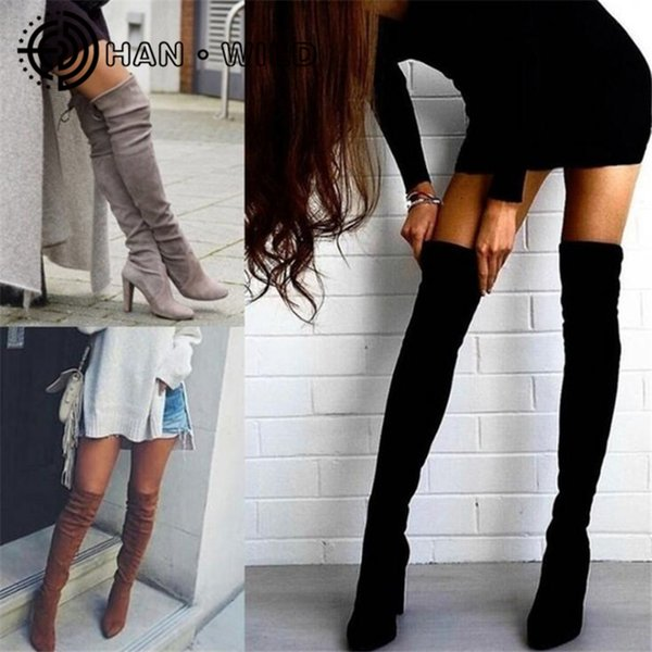 2018 New Flock Leather Women Over The Knee Boots Lace Up Sexy Tacchi alti Scarpe da donna Stivali invernali caldi Plus Szie 35-43