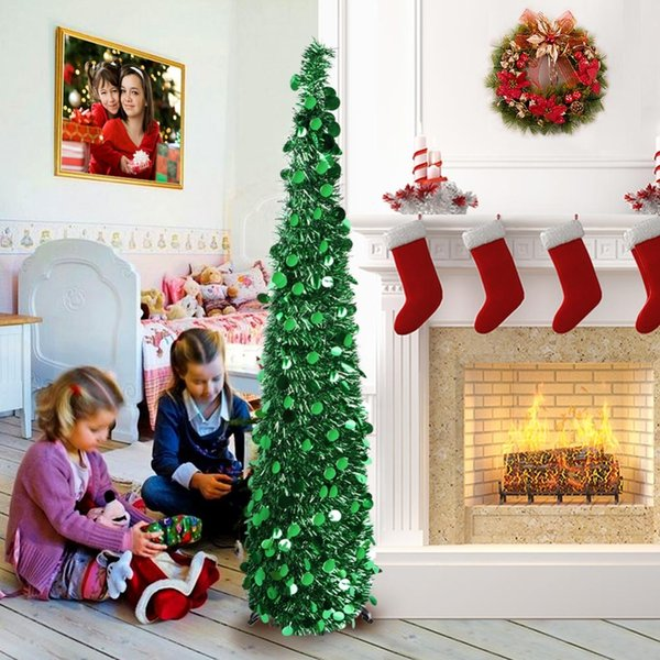 OurWarm Christmas Tree Decorations Foldable Artificial Christmas Tree Pop Up 2019 New Year product for Home Easy to Store Party