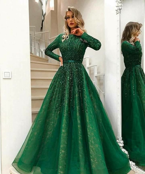 2018 Muslim Formal Evening Dresses Blingbling Beaded Tulle Over Lace Long Sleeved Sweep Train Green Evening Gowns