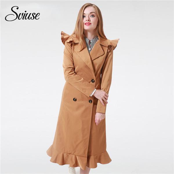 2017 mode Rüschen Trenchcoat Frauen Oberbekleidung Mäntel Herbst Sash Tasche Streetwear langen Trench Khaki Outwear Weibliche Silm Mantel