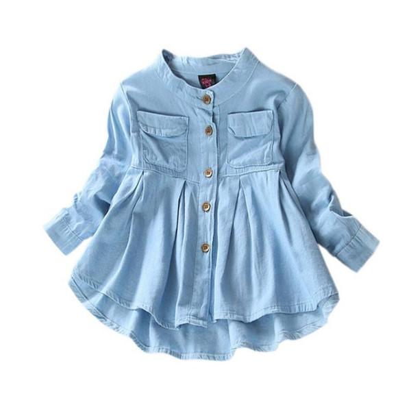 best selling New Spring Fashion Kids Girls Demin Shirts Soft Fabric Long Sleeve Shirt Children Clothing