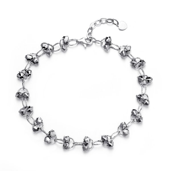 NEW Pure Real 925 Sterling Silver Bracelet Chain With Beads Balls Ethnic Big Hollow Link Bracelets For Women Girls FF BA019