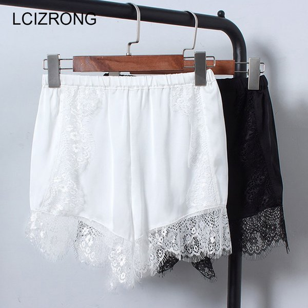 Summer Satin Sleep Bottoms Women Elastic Waist Lace Black White Outwear Pants Fashion Sexy Short Leggings Home Underpants Female