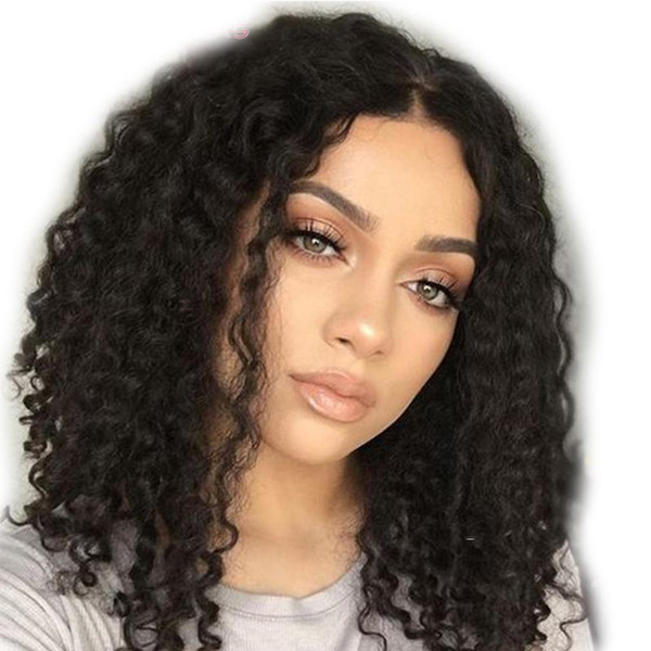 Lace Front Human Hair Wigs Peruvian Virgin Hair Kinky Curly For Black Women Full Lace Wig With Baby Hair Natural Hairline Bleached Knots
