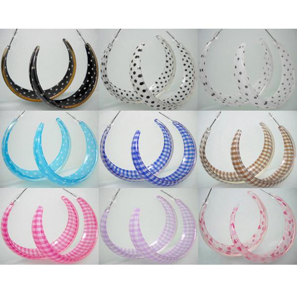 Acrylic Hoop Earrings Mix 9 Styles Dot Plaid Heart Wholesale Lots Women Girl Eardrop ( Black White Brown Blue Rose Red Purple Pink )(JE011)