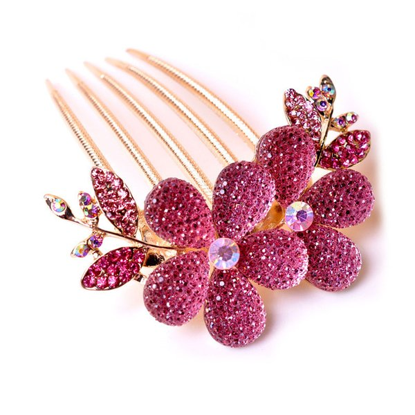 2018 Romantic Crystal Flower Hair Combs Hairpin Hair Accessories Luxury Women Beautiful Sweet Hairpin Tiara Gift 4 Color