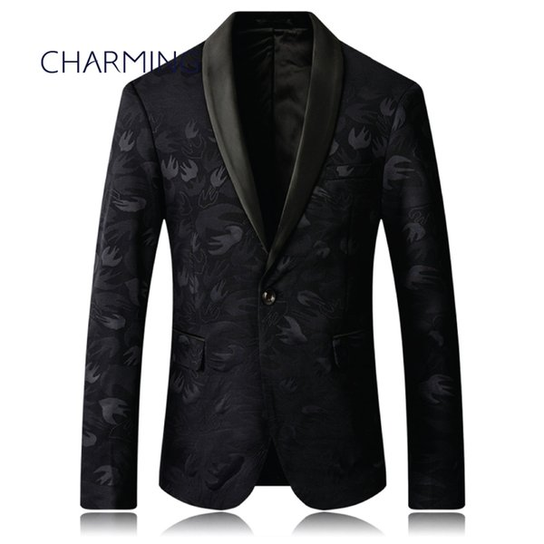 Formal jackets mens High quality leather swallow pattern embossing process Suitable actor singer best mens suits mens black suits for sale