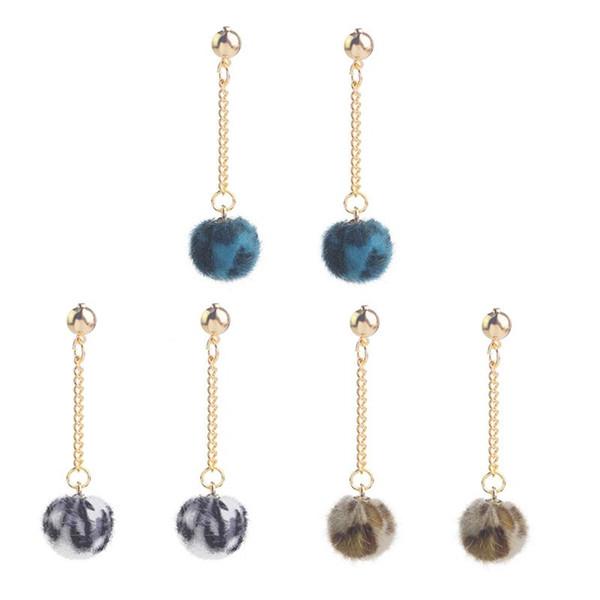 Perline con palla di pom peluche con stampa leopardata, orecchini pendenti con ciondoli colorati per le donne