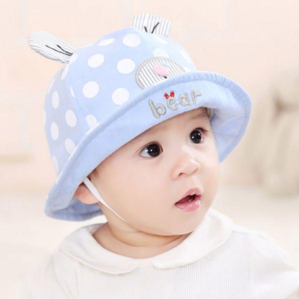 4 colors cute baby Ear Hat unisex Mesh Fisherman Caps infant dot heart bear hats summer Sun Protective cap