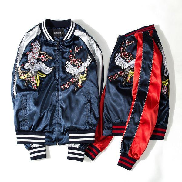 Çin tarzı vinçler Baskı Tasarımcısı Bombacı Ceketler Mens Yeni Saten Kumaşlar Standı Yaka Varsity hip hop ceket Ceket beyzbol üniforma