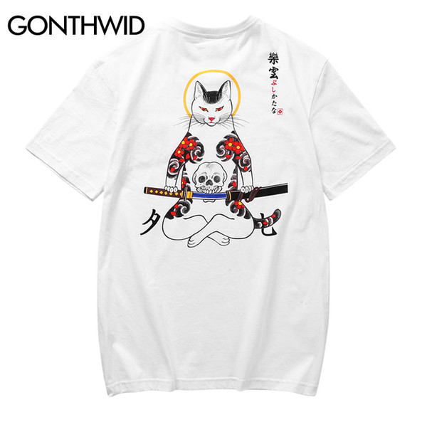 wholesale Japanese Embroidery Fox Mask Warrior Cats Short Sleeve T Shirts 2018 Hip Hop Casual Cotton Tops Tees Streetwear Tshirts