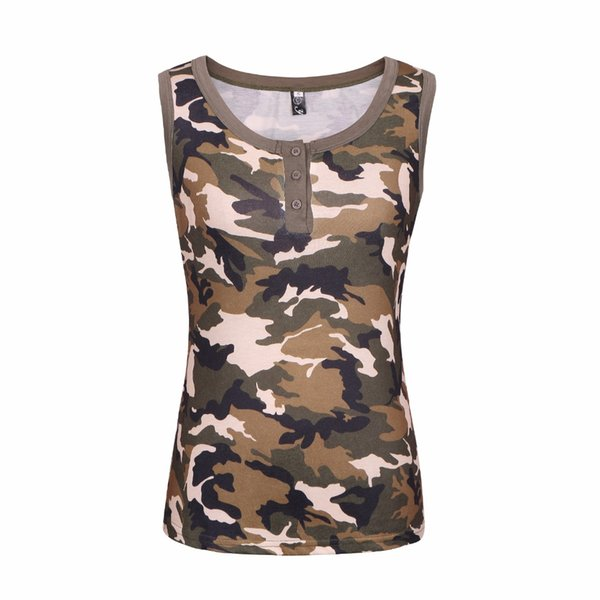 New Summer Women's Army Green Camo T-Shirts Female sleeveless Vest sexy Camouflage t shirt Casual Tee Tops Plus Size