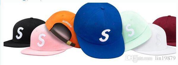 top popular 2018 New summer style Snapback Caps letter S bone 5 panel hats for men women gorras Adjustable baseball Cap hip hop pop Casquette 2021