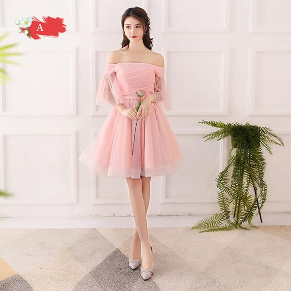 417ede39c066 Compre Mingli Tengda Pink Boat Neck Vestidos De Dama De Honor Cortos 2018  Elegante Fuera Del Hombro Vestidos Para El Banquete De Boda Abito Damigella  ...