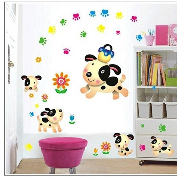 Fashion PVC Removable Decals Cute Dog Pattern Vinyl Wall Stickers For Children Room Bathroom Decor Sticker Popular 2 2lk BB