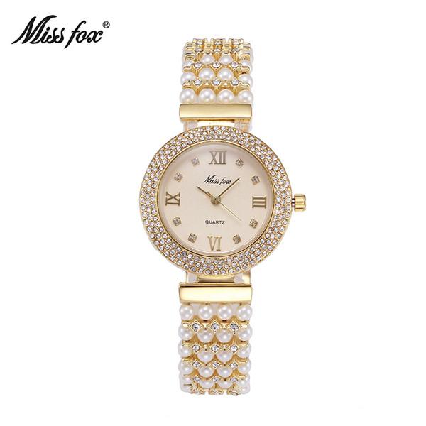 Senhorita Fox Marca Assista Mulheres de Luxo Jóias de Pedras Preciosas Pérolas Pulseira Relógios de Diamante Vestido de Senhoras de Moda de Quartzo Relógio de Pulso Relógio