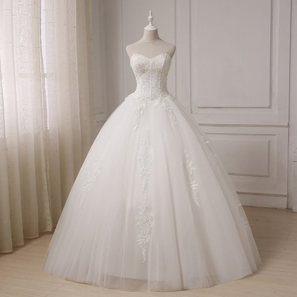 Vintage Ivory Sweetheart Ball Gown Real Photos Lace Appliques With Pearls Tulle Bridal Gowns Floor Length Sexy Back Wedding Dress
