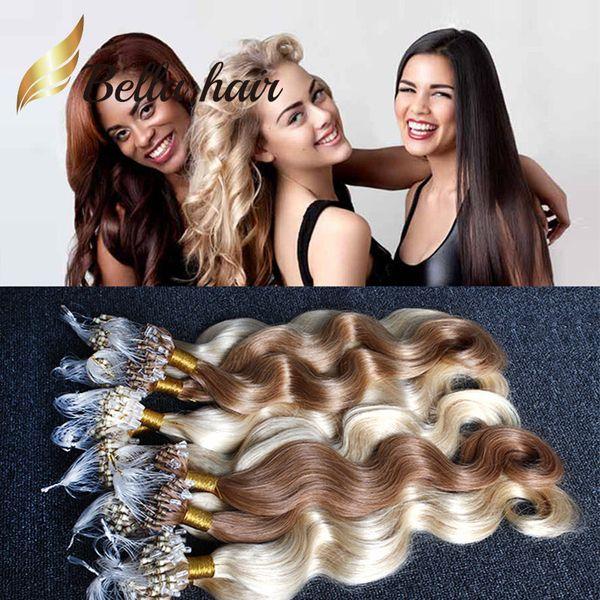 8A 1g/strand 100g/set Brazilian hair Micro Ring Loop Body Wave Indian Malaysia Peruvian human hair Grade BellaHair free shipping